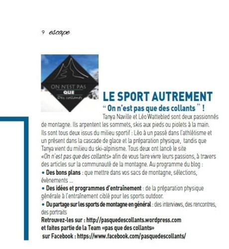 Article Magazine ESCAPE n°62 2016 - Le sport autrement - Blog On n'est pas que des collants www.pasquedescollants.com