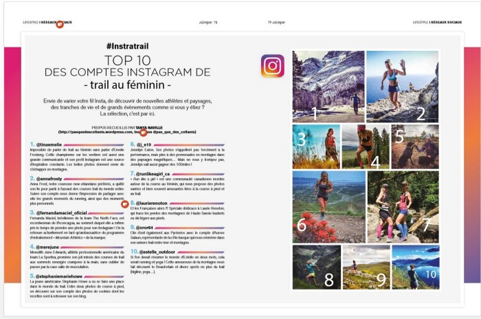 top10 des comptes instagram de traileuses /http://pasquedescollant.com trail run running sportives