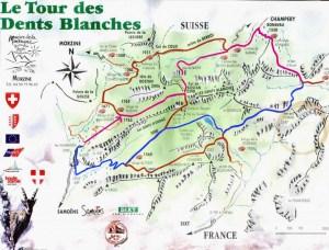 Carte Tour des dents Blanches - blog aventure on n'est pas que des collants randonnée deux jours bivouac montagne
