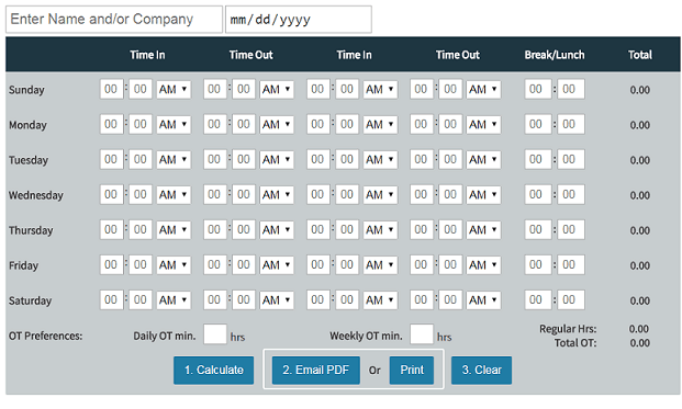 free online time card calculator