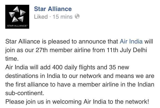 star alliance air india