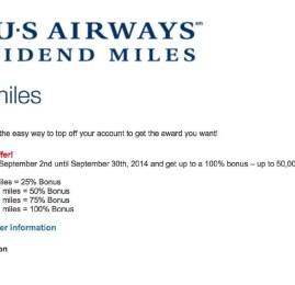 US Airways oferece 100% de bonus na compra de milhas