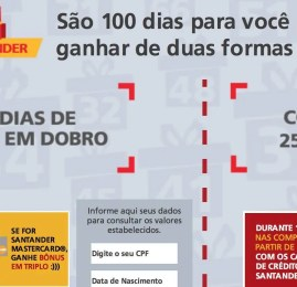 Santander oferece até o triplo de pontos no cartão de crédito até Fevereiro