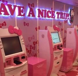 Check-in personalizado da Hello Kitty no aeroporto de Taipei (TPE)