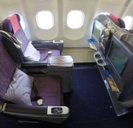 Classe executiva da Thai Airways no A330 – Hong Kong para Seoul