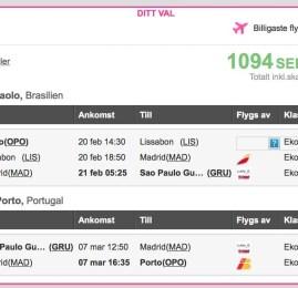 Passagens da Europa para o Brasil por EUR120 (ida e volta)