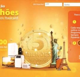 Itaú vai sortear 5 milhões de pontos para os portadores dos cartões de crédito do banco