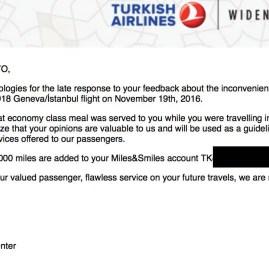 Resposta da Turkish sobre o downgrade da minha refeição na classe executiva
