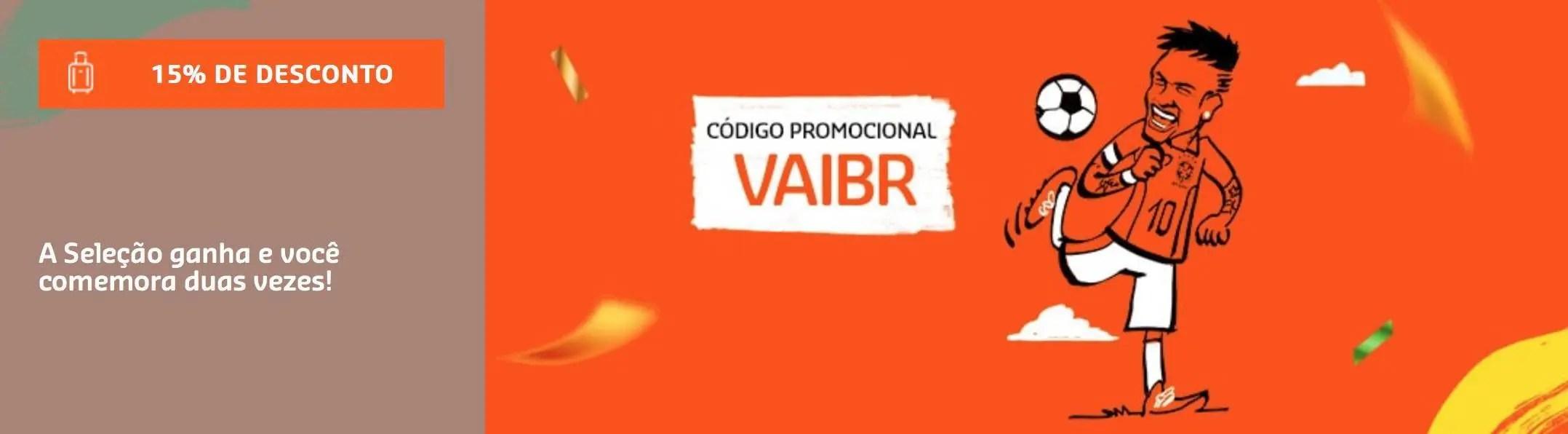 """49e4b7a82 Para participar basta inserir o código """"VAIBR"""" no momento da BUSCA das  passagens."""