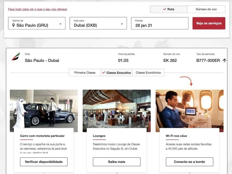 Emirates internet voos