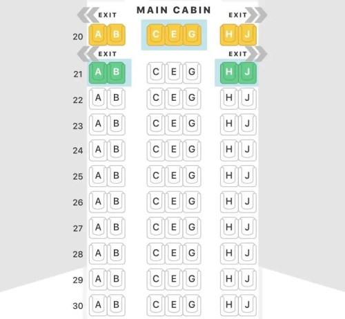 mapa de assentos 2-3-2