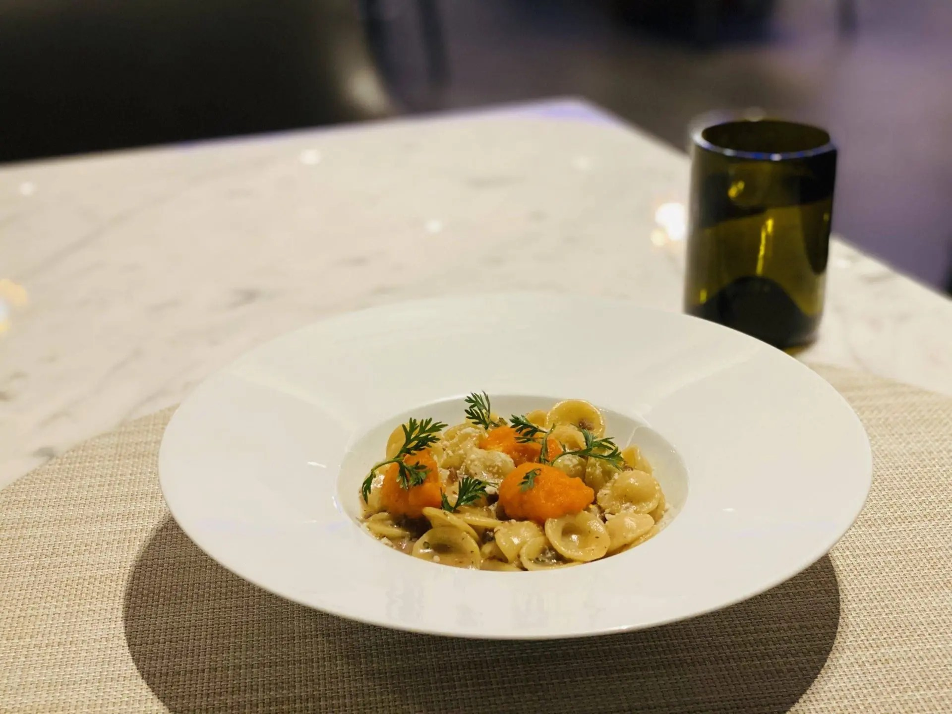 United Polaris Lounge Newark pasta
