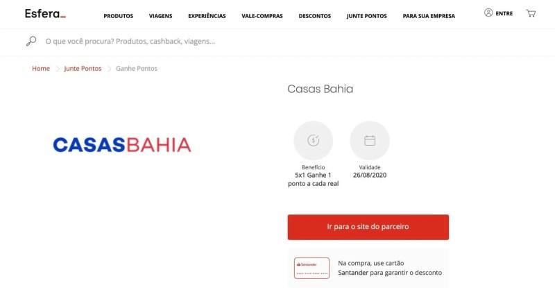 Esfera pontos Casas Bahia