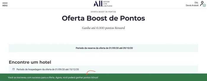 Promoção Accor 6.000 pontos