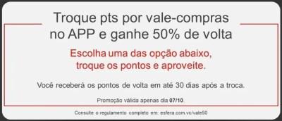50% pontos vouchers Esfera