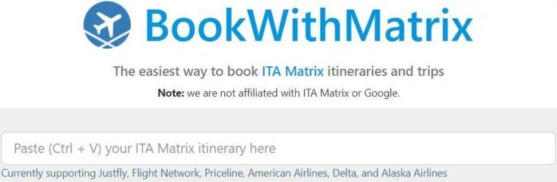 ITA Matrix passagens