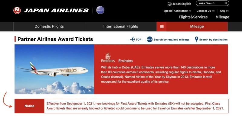 JAL emirates Primeira Classe