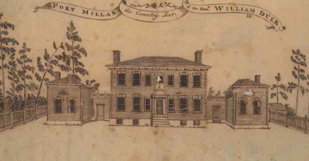 """""""The Country Seat of the Hon.  William Duer Ft.  Millar."""" Used with permission from the New York Historical Society."""
