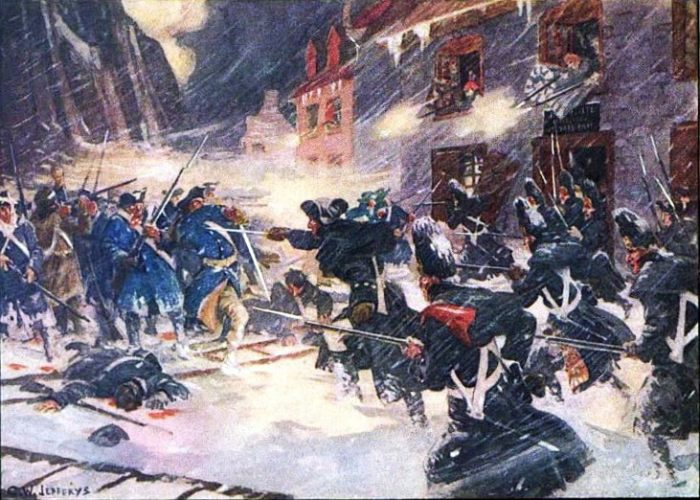 British and Canadian forces attacking Arnold's column in the Sault-au-Matelot painting by C. W. Jefferys