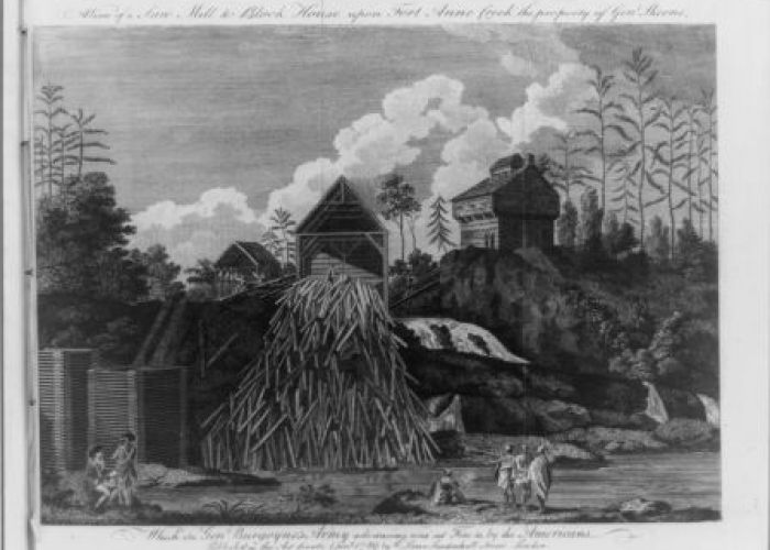 Saw mill and block house along Fort Ann Creek. From Travels through the interior parts of America. By Thomas Anburey, 1789.