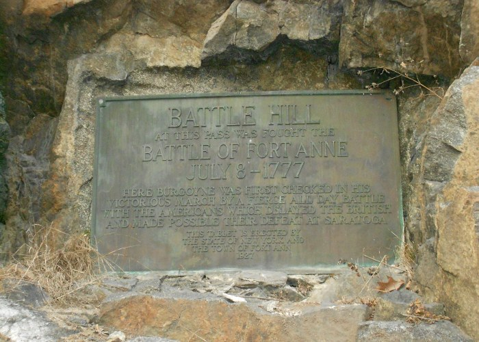 This bronze plaque in the rock face of Battle Hill was placed during the 150th anniversary celebration in 1927.