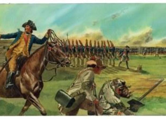 "Artist's conception of the events of October 7, 1777, during the Battle of Bemis Heights, in which Benedict Arnold (shown on horseback) led an assault against German troops at the Breymann Redoubt.  During the assault, Arnold was wounded in the leg and his horse ""Warren"" was killed. 1976 mixed media illustration by artist Don Troiani, commissioned by the NPS for Saratoga National Historical Park."