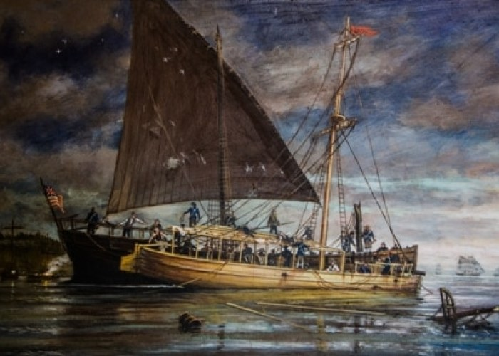 Philadelphia Sinking Assisted by the Row Galley Washington. Painting by Ernie Haas. Courtesy of the Lake Champlain Maritime Musuem www.lcmm.org.