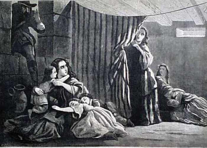 Baroness Riedesel with her children, as imagined by Harper's Weekly in 1857.
