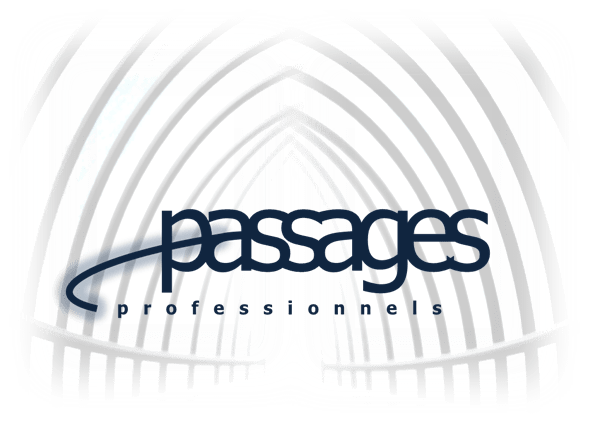 Passages hallway white white blue logo