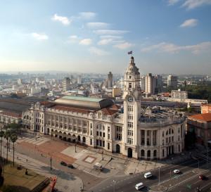 Vista aérea da Sala São Paulo, a antiga sede da Estrada de ferro Sorocabana. Foto: Divulgação.