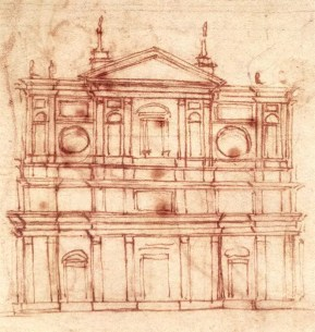 Michelangelo, Project for the façade of San Lorenzo, Florence. - Imagem: wikipedia Commons