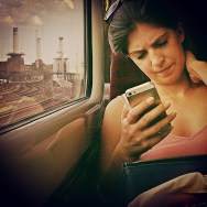 Struggling to make sense of Tuesday morning              by southcoasting batterseapowerstation, igdaily, igerdaily, instagood, mobilephone, passengers, peopleonpublictransport, phoneplay, photo_of_the_day, pink, strangersonatrain, traingame, warm,