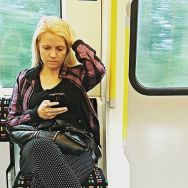 She was yellow by southcoasting blonde, london, overground, passengers, peopleonpublictransport, subway, tube, underground,