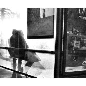 Columbus reflected on the city map of Barcelona by Godo Chillida barcelona, blackandwhite, bnw, bnw_life, bnw_society, busstop, bw, bw_lover, bw_photooftheday, bw_planet, citymap, columbus, monochrome, passengers, reflection, streetphoto, streetphotography, streetphotography_bw, streetphoto_bw, ubiquography,