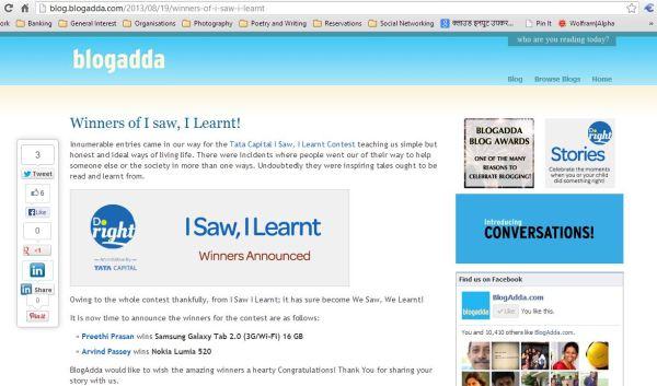 I saw I learnt_blogadda_prize_AP