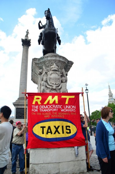 London Cab strike. 11 June 2014. Hub of the strike at Trafalgar Square...