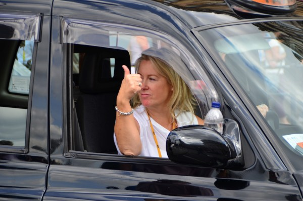 London Cab strike. 11 June 2014. Thumbs up for the union!
