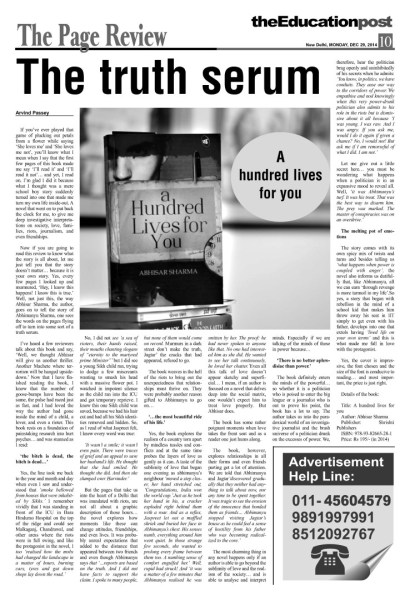 2014_12_29_The Education Post_Book Review_A hundred lives for you_Abhisar Sharma