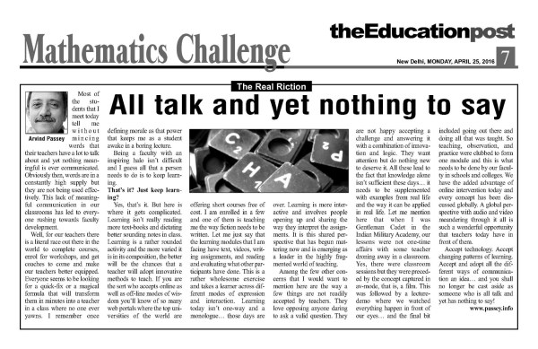 2016_04_25_The Education Post_Real Fiction_All talk and yet nothing to say