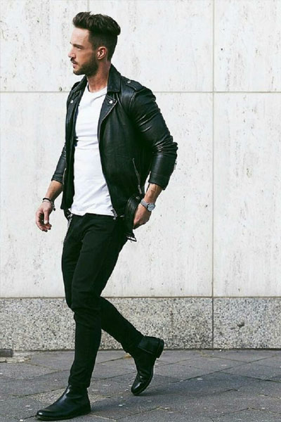 porter un perfecto homme look rock