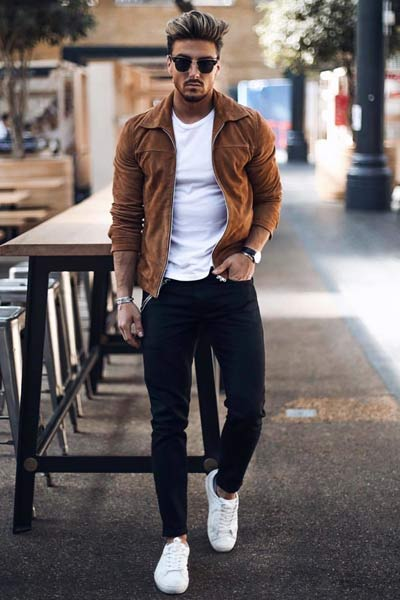 veste à col marron pour homme morphologie en H