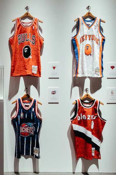 Bape x NBA maillots des Bulls, NewYork, Rockets, Blazers
