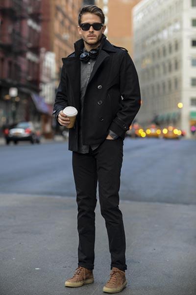 manteau d'hiver homme caban court noir