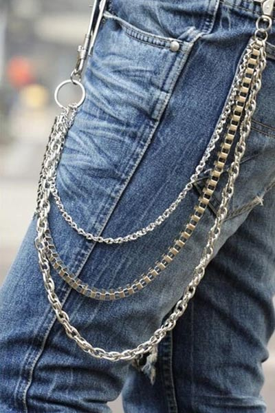 chaine jean look rock homme