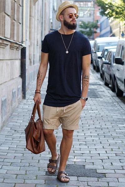 look homme streetwear avec des sandales
