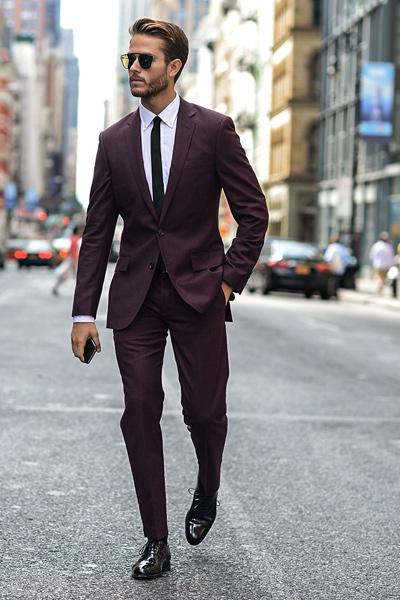 costume bordeaux homme
