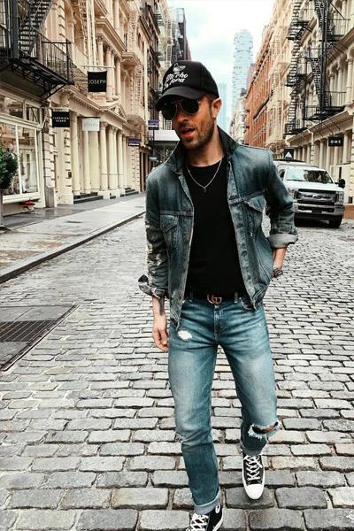 look rock homme jean et converse