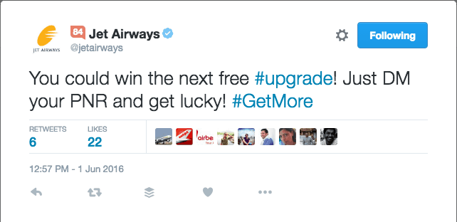 Jet Airways GetMore Free Business Class Upgrades Twitter