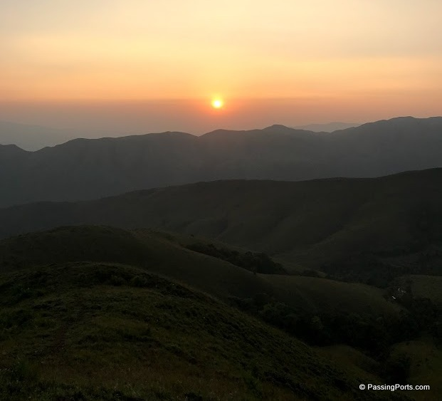Sunset near homestay in Chikmagalur