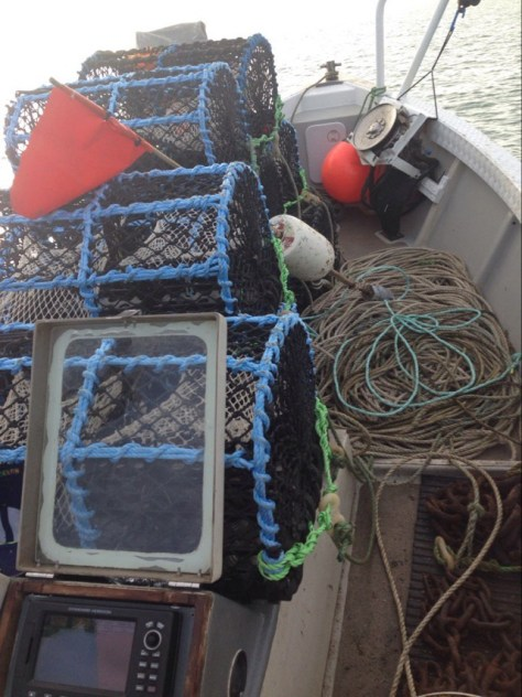 Lobster pots on boat